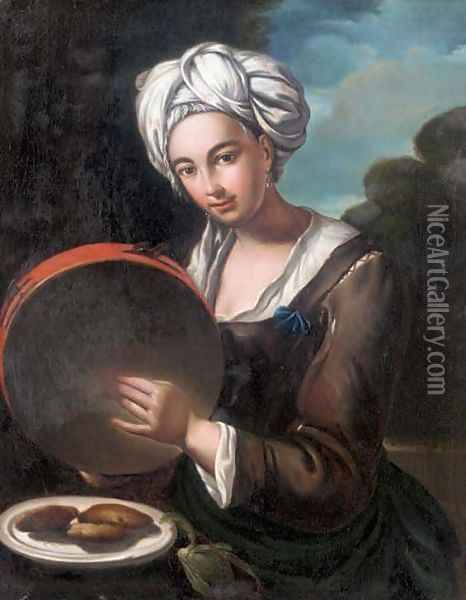 A girl playing a tambourine Oil Painting - Giacomo Ceruti (Il Pitocchetto)