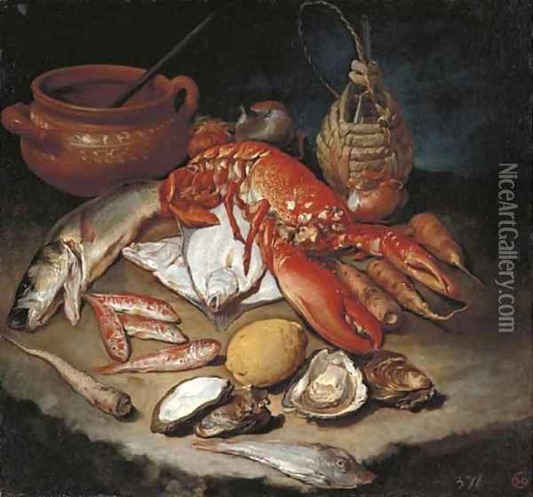 A lobster, herring, turbot, skate, red mullets and oysters with turnips, onions, a lemon, an earthenware pot and a wicker and glass bottle on a stone Oil Painting - Giacomo Ceruti (Il Pitocchetto)
