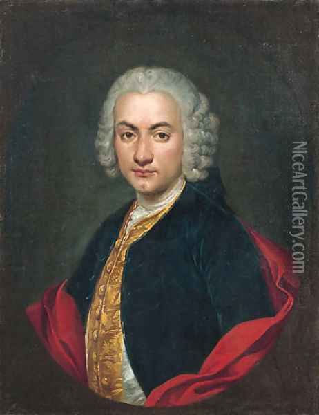 Portrait of a gentleman, half-length, in a blue velvet jacket, a gold-embroidered waistcoat and a red cape, in a feigned oval Oil Painting - Giacomo Ceruti (Il Pitocchetto)
