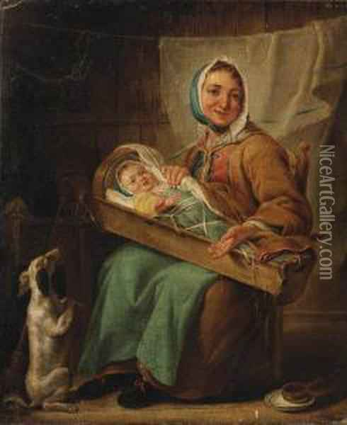 La Piemontoise: A Mother And Child With A Dog In An Interior Oil Painting - Noel Halle