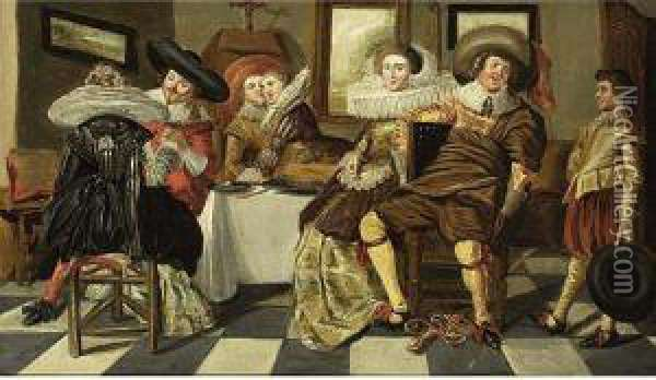 An Elegant Company Dining In An Interior Oil Painting - Dirck Hals