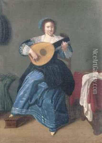 An Elegant Woman Playing The Lute In An Interior Oil Painting - Dirck Hals