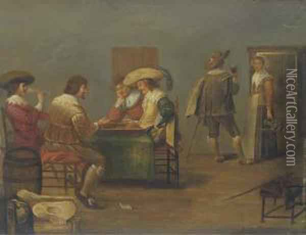 Guardsmen Playing Tric-trac And Drinking In An Inn Oil Painting - Dirck Hals