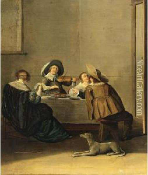 An Elegant Company Making Music In An Interior Oil Painting - Dirck Hals
