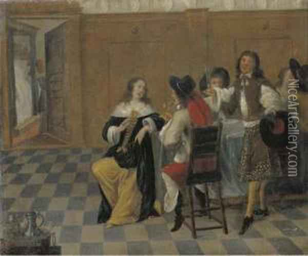 Merry Company Drinking In An Interior Oil Painting - Dirck Hals