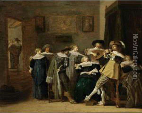 An Elegant Company Playing Music And Singing In An Interior Oil Painting - Dirck Hals
