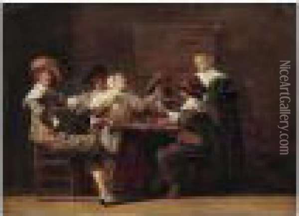 Merry Company Playing Cards In An Interior Oil Painting - Dirck Hals