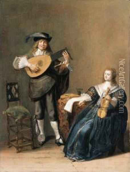 An Allegory Of Love: A Young Man Playing A Lute And A Young Womanplaying A Violin Oil Painting - Dirck Hals