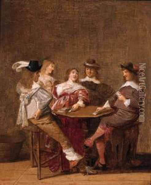 A Company At Table Engaged In A Game Of Cards Oil Painting - Dirck Hals