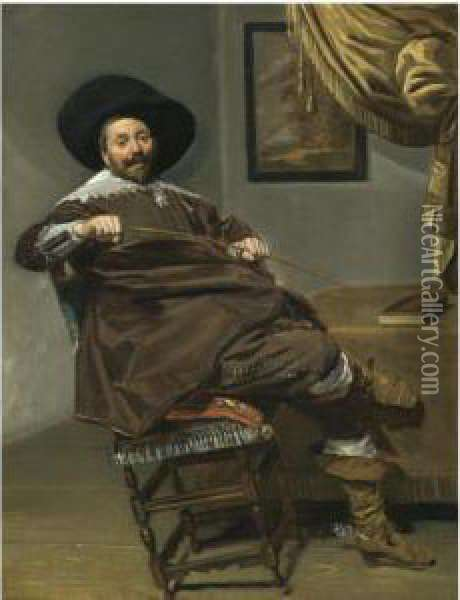 Portrait Of Willem Van Heythuysen, Seated On A Chair And Holding Ahunting Crop Oil Painting - Frans Hals