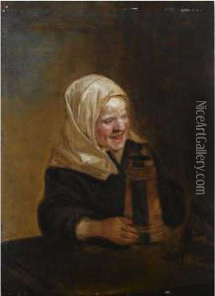 A Young Girl Sitting At A Table, Holding A Beer Mug Oil Painting - Frans Hals