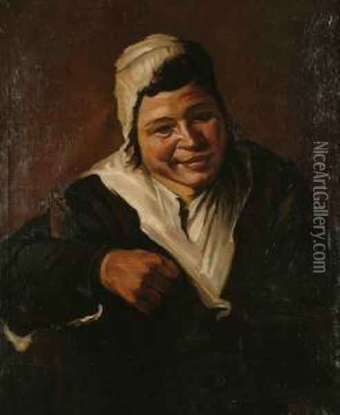 A Peasant Woman In A Black Dress With A White Shawl And Cap Oil Painting - Frans Hals
