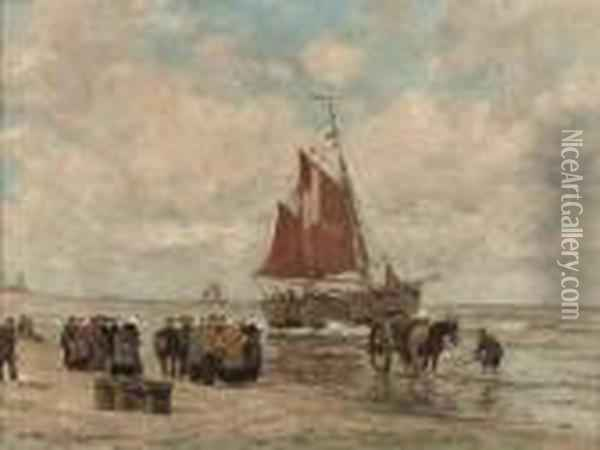 A Gathering On The Beach Of Katwijk Oil Painting - Wilhelm Hambutchen