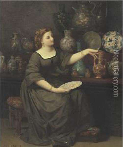 A Lady Seated Admiring A Vase Oil Painting - Jean-Louis Hamon