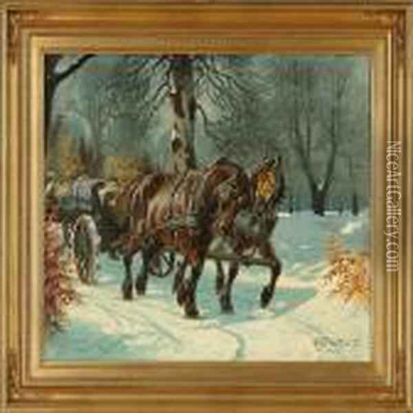 Winter Forestwith Horses And Carriage Oil Painting - Karl Frederik Hansen-Reistrup