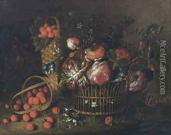 Roses, Violets And Other Flowers  In A Basket, A Basket Ofstrawberries And A Laying Basket With  Raspberries Oil Painting - Pieter Hardime