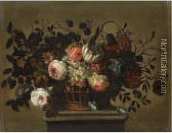 A Flower Still Life With A  Tulip, Roses, Bluebells, Daffodills And Carnations In A Basket On A  Ledge Oil Painting - Pieter Hardime