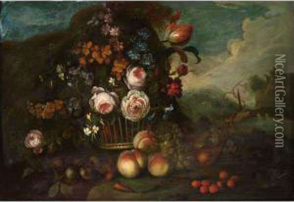 A Still Life With Roses, A Tulip  And Other Flowers In A Basket, Peaches, Grapes And Strawberries In  Front, In A Landscape Oil Painting - Pieter Hardime
