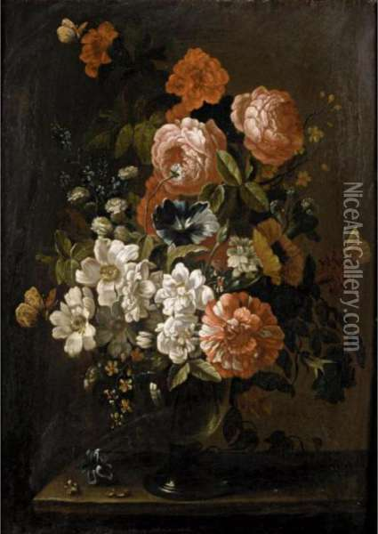 Still Life With Various Flowers In A Glass Vase, On A Stone Ledge Oil Painting - Pieter Hardime