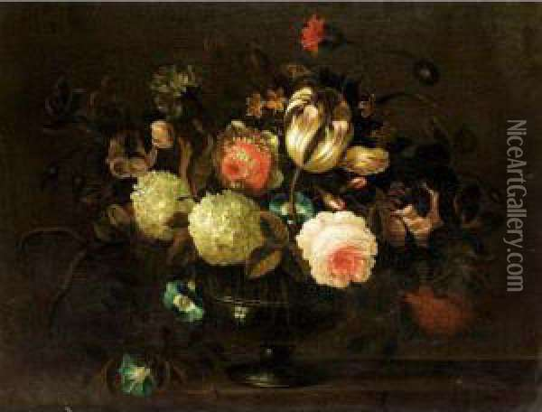 Still Life With A Tulip, Roses,  Carnations, Morning Glory And Other Flowers In A Glass Vase On A Stone  Ledge Oil Painting - Pieter Hardime