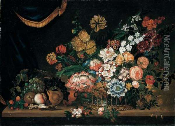 A Still Life Of Flowers And  Fruit In A Basket, All Resting Upon A Table, A Draped Curtain Beyond Oil Painting - Pieter Hardime