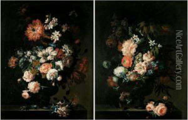 Still Lifes Of Roses, Tulips,  Convolvuli, Chrysenthamums, Hyacinths, Peonies And Other Flowers In  Glass Vases, Both Set Upon Stone Pedestals Oil Painting - Pieter Hardime