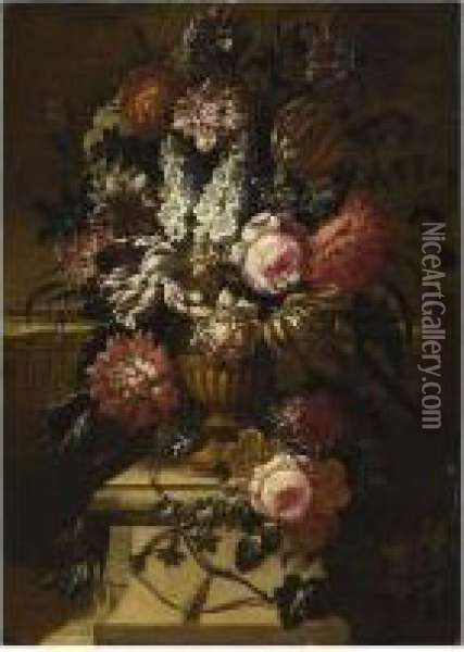 A Still Life With Roses, Peonies, Tulips And Other Flowers In A Oil Painting - Pieter Hardime