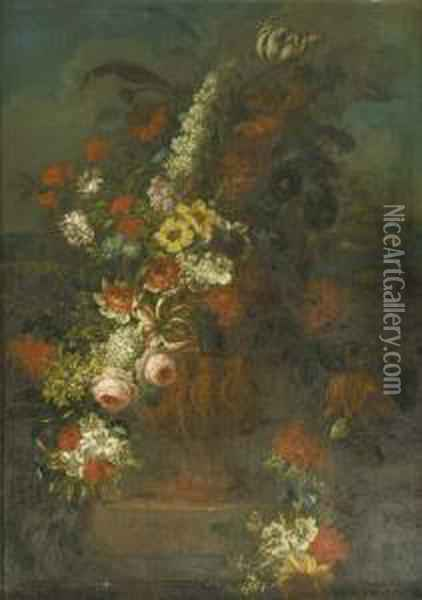 Roses, Tulips, Carnations And  Other Flowers In A Sculpted Vase Decorated With Putti On A Stone Ledge  In A Landscape - A Chimney Piece Oil Painting - Pieter Hardime