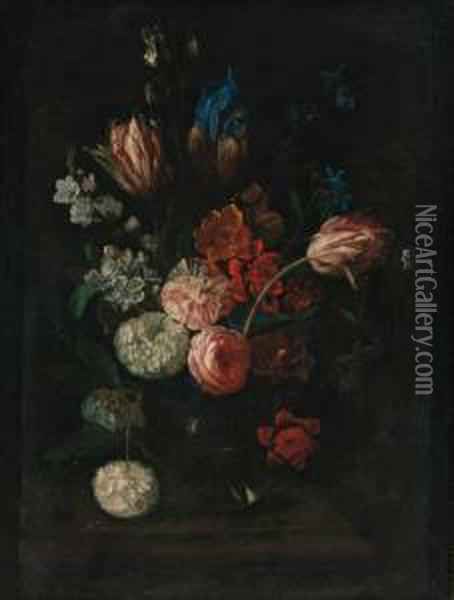 Carnations, Tulips, Peonies, Irises And Other Flowers In A Glassbowl On A Ledge Oil Painting - Pieter Hardime