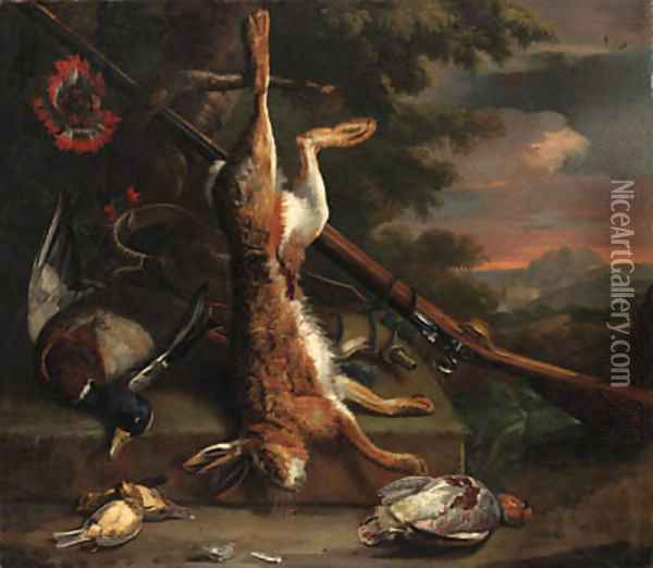 Still life of dead game, with a hare, a mallard, an English partridge and other birds with a gun by a tree, in a wooded landscape Oil Painting - Charles Collins