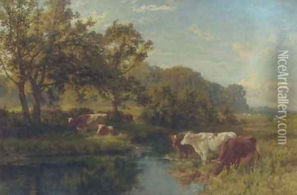 Cattle watering in a meadow Oil Painting - Charles Collins