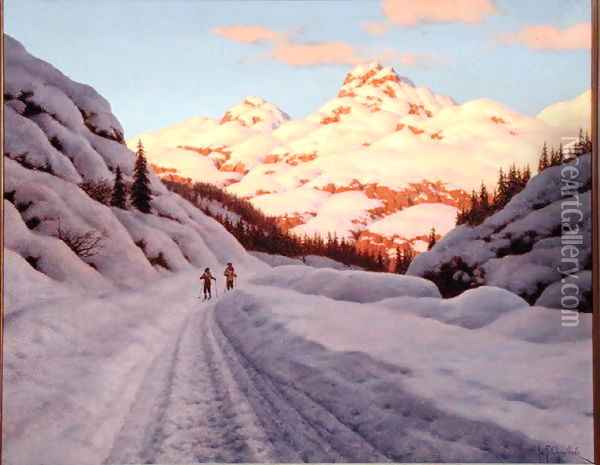 The Late Afternoon Ski Run Oil Painting - Ivan Fedorovich Choultse