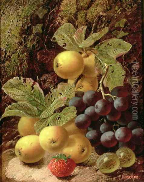 Still Life with Apples, Grapes, Strawberry and Gooseberry Oil Painting - Oliver Clare