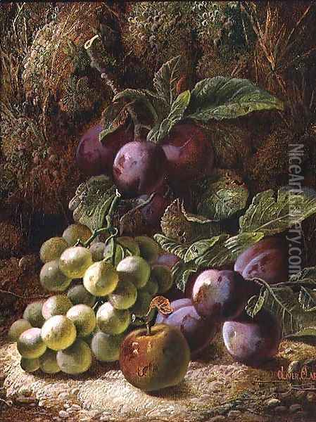Still Life with Plums and Grapes Oil Painting - Oliver Clare