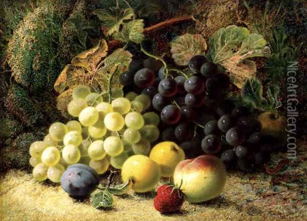 Grapes, Apples, A Plum, A Peach And A Strawberry, On A Mossy Bank Oil Painting - Oliver Clare