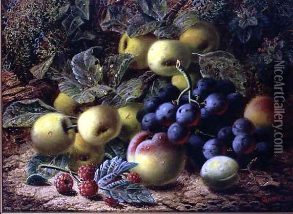 Still Life with Apples, Plums, Grapes and Raspberries Oil Painting - Oliver Clare