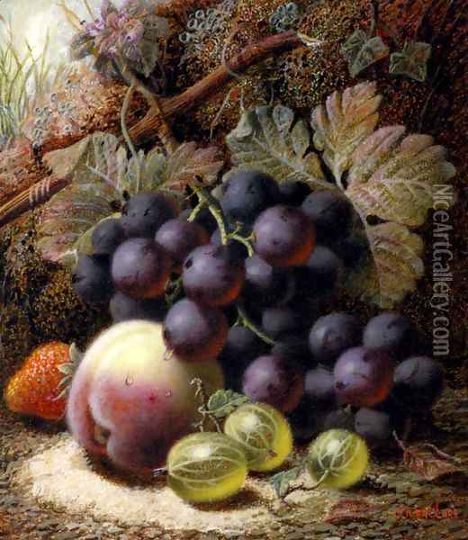 Still Life with Black Grapes, a Strawberry, a Peach and Gooseberries on a Mossy Bank Oil Painting - Oliver Clare