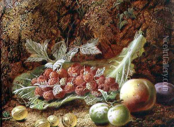 Still life of raspberries, gooseberries, peach and plums on a mossy bank Oil Painting - Oliver Clare