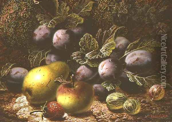 Still Life with Plums, Gooseberries, Apple, Pear and Strawberry Oil Painting - Oliver Clare