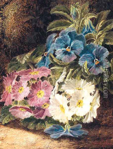 Pansies and Primulas, on a mossy Bank Oil Painting - Oliver Clare