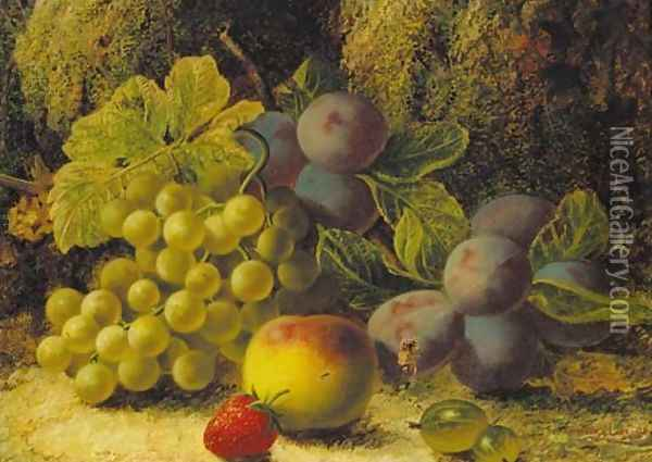 Grapes, plums, gooseberries, a peach, and a strawberry on a mossy bank Oil Painting - Oliver Clare