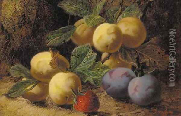 Plums and a strawberry on a mossy bank Oil Painting - Oliver Clare