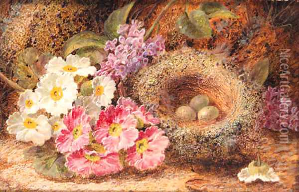 Primroses, Primulas, a Bird's Nest with Eggs, on a mossy Bank Oil Painting - Oliver Clare