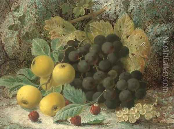 Raspberries, gooseberries, plums and grapes on a mossy bank Oil Painting - Oliver Clare