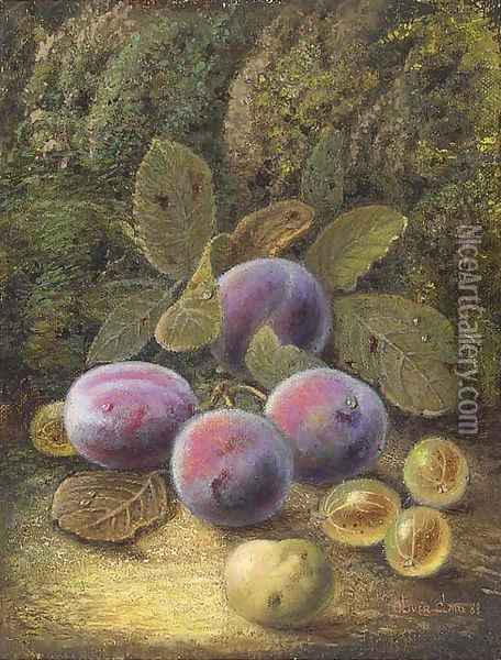 Still life of plums and gooseberries on a mossy bank Oil Painting - Oliver Clare