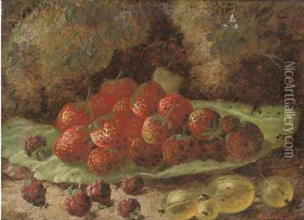 Strawberries, raspberries and gooseberries on a mossy bank Oil Painting - Oliver Clare