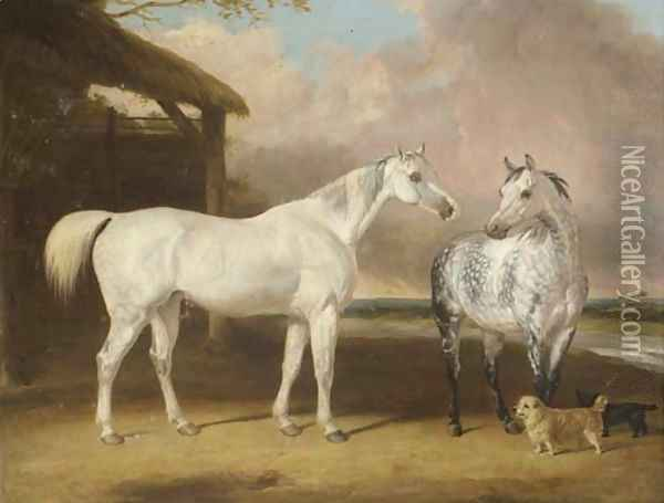 Hunters And Terriers By A Barn, In A River Landscape Oil Painting - Abraham Cooper