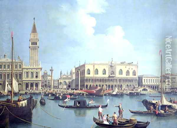A View of the Grand Canal (oil on canvas) Oil Painting - Studio of Canaletto, Antonio