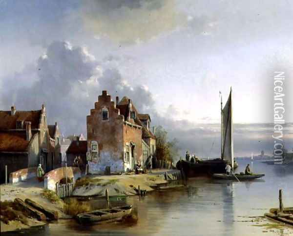 Belgian Riverside, 1858 Oil Painting - Jacques Carabain