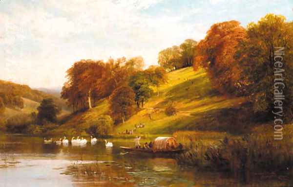 A view of Arundel Park, Sussex Oil Painting - George Cole, Snr.